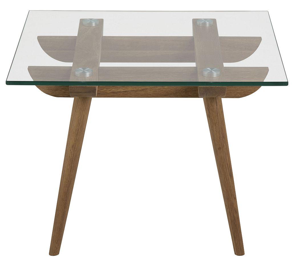24Designs Bijzettafel Alvar - 60x60x43 Cm - Glazen Tafelblad - Eikenhouten Poten