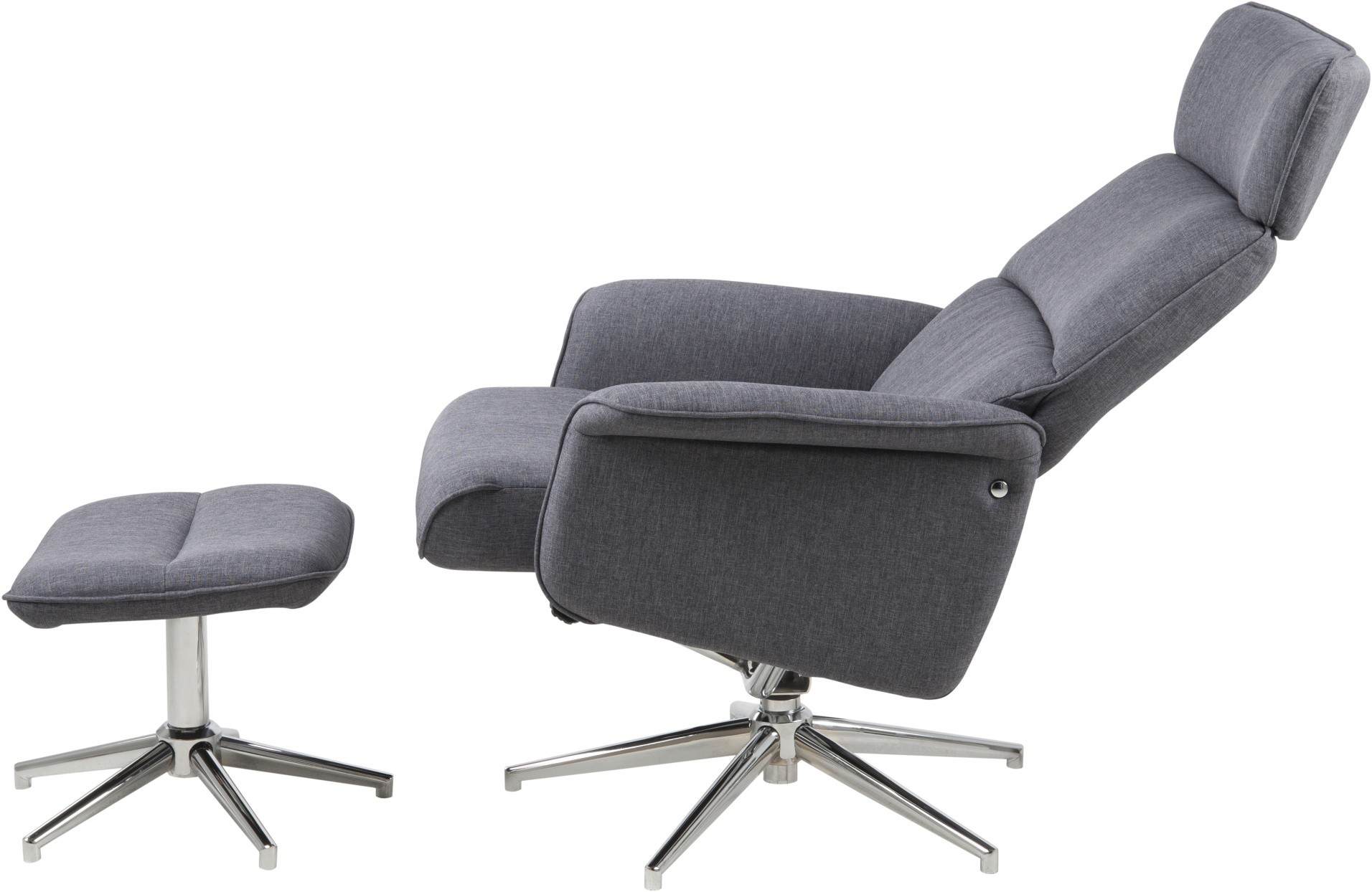 24Designs Relax Fauteuil Avery + Hocker - B74 X D111 X H110 Cm - Stof - Donkergrijs