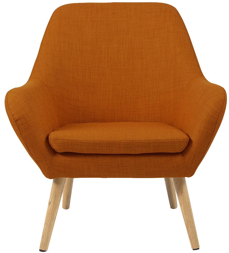 24Designs Fauteuil Sabrina - Stof Oranje - Houten Poten