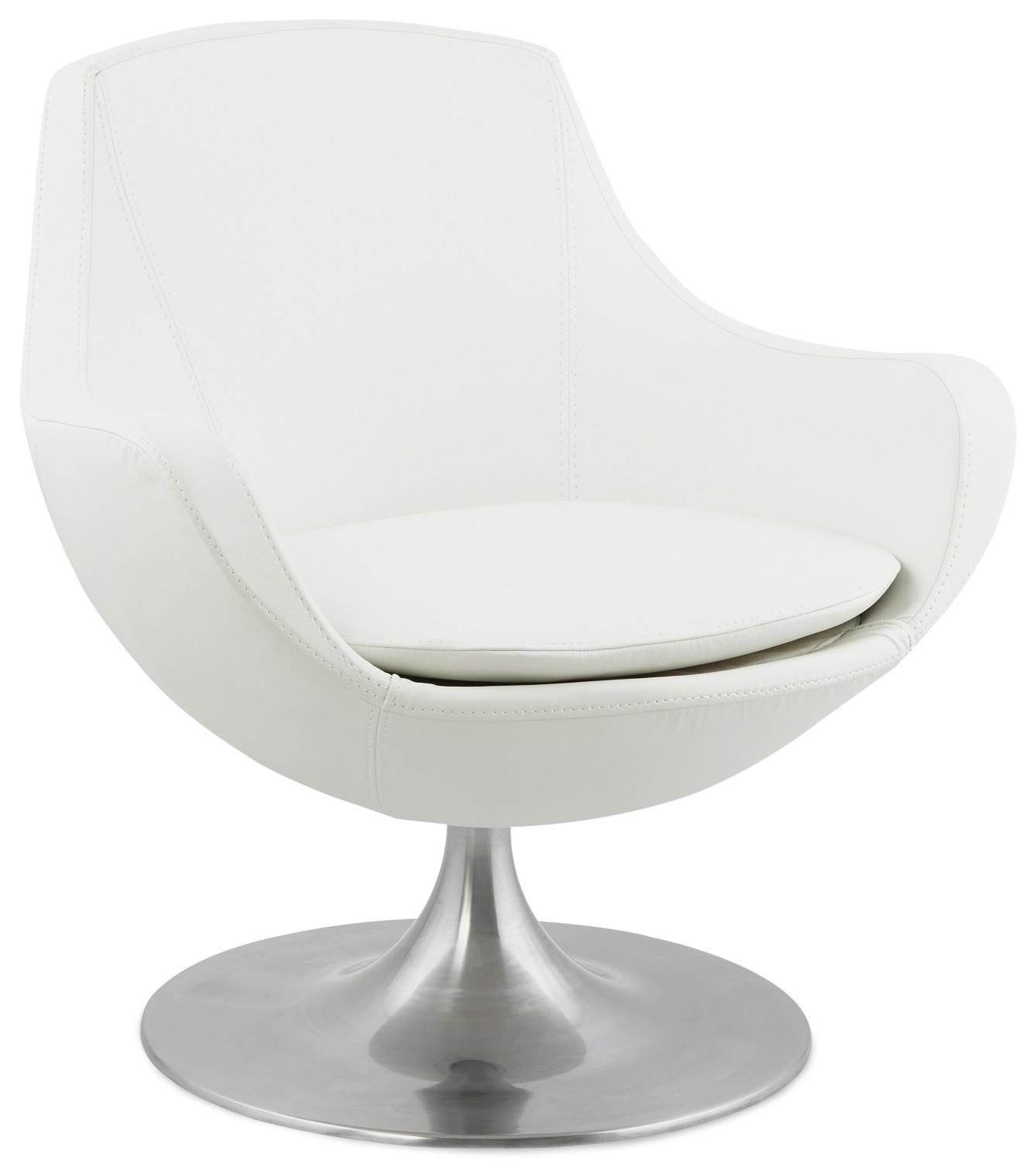 24Designs Draaibare Fauteuil Stephano - Aluminium Voet - Wit Kunstleer