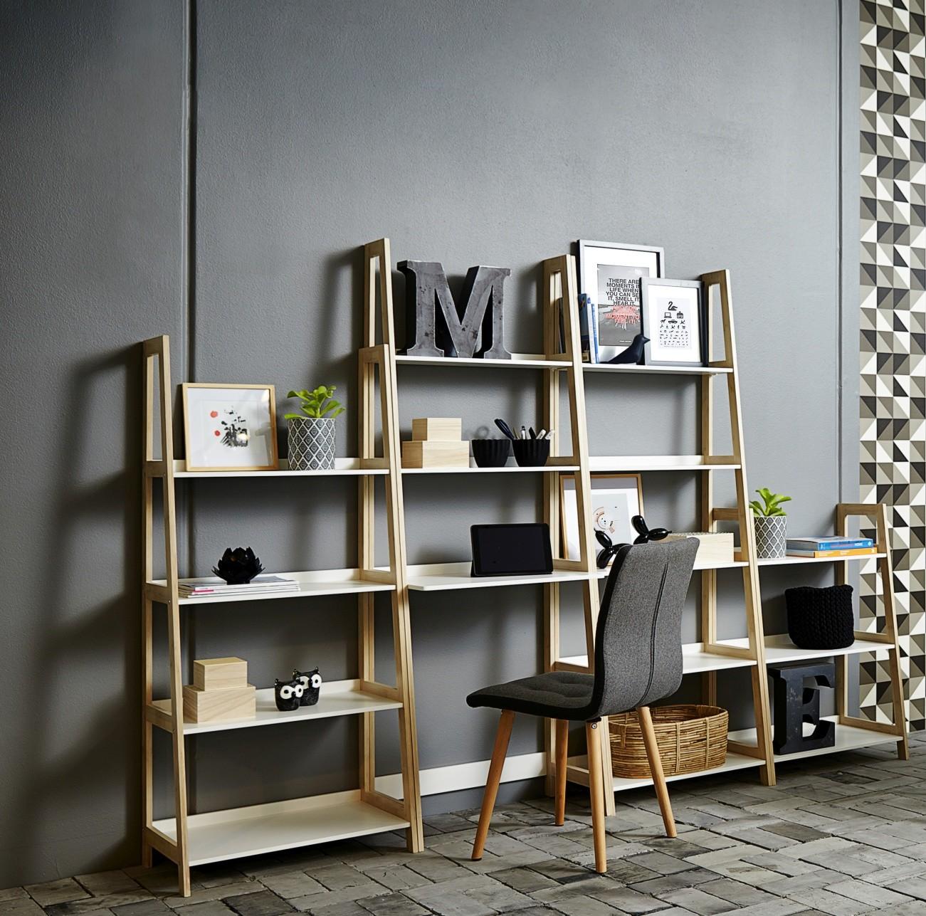 24Designs Wandmeubel Wall - B63 X H95 X D40 Cm - Bamboe - Wit