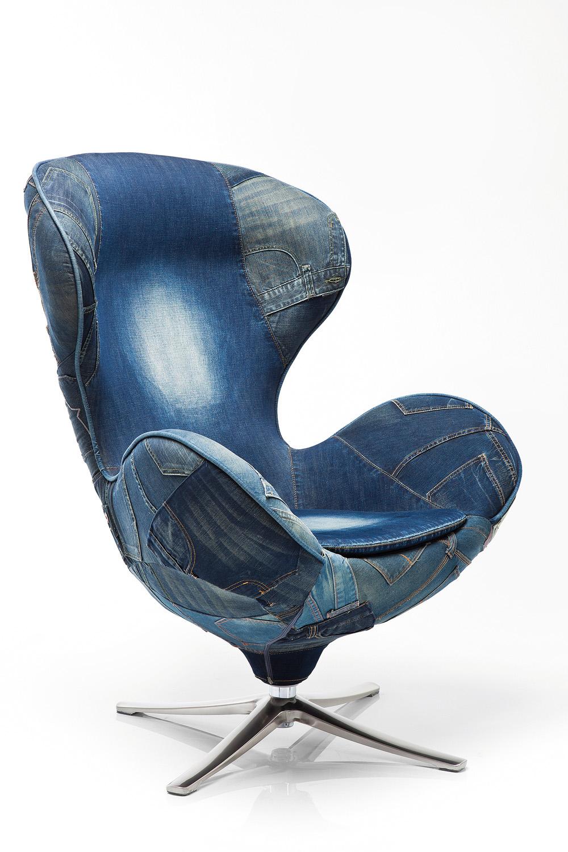 Kare Design Draaibare Fauteuil Lounge Jeans - Blauw