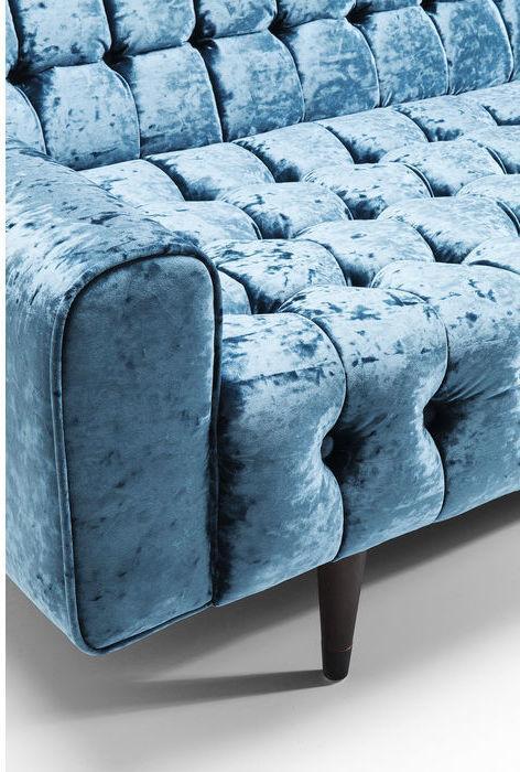 Kare Design Milchbar Diva 3-Zits Bank - B233 Cm - Petrol Blauw Fluweel