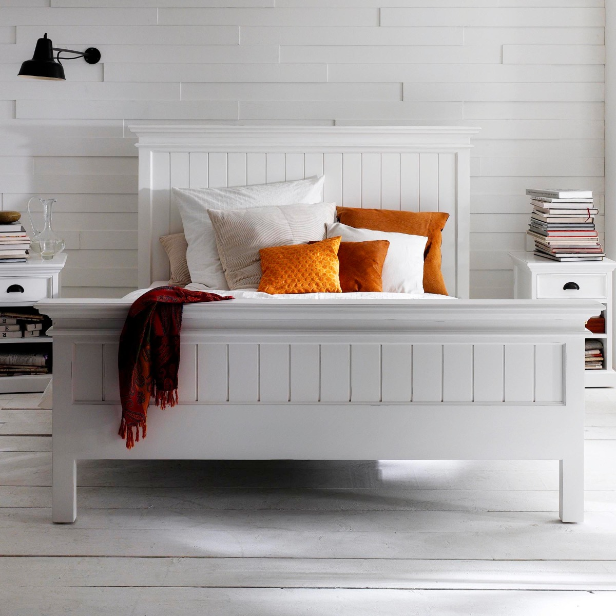 Novasolo Halifax Queen'Bed 160x200 - H125 Cm X B184 Cm X D212.5 Cm - Wit
