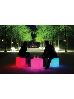Moree Cube Outdoor Bijzettafel met Multicolor LED/Accu - L44 x B44 cm
