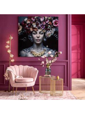 Kare Design Water Lily Fauteuil - Pastelroze Fluweel - Goudkleurige Metalen Poten