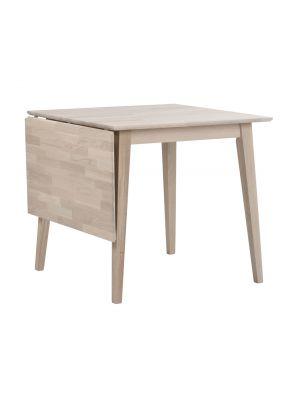 Rowico Filippa Uitklapbare Eettafel - Massief Whitewash Eiken - L80 x B80 x H74 cm