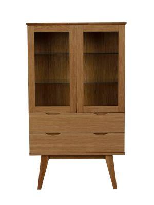 Rowico Filippa Vitrinekast - B81 x D40 x H140 cm - 2 Glazen Deuren - Eiken