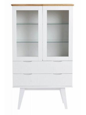 Rowico Filippa Vitrinekast - B81 x D40 x H140 cm - 2 Glazen Deuren - Wit Eikenfineer
