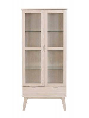 Rowico Filippa Vitrinekast - B82 x D40 x H185 cm - 2 Glazen Deuren - Whitewash Eikenfineer