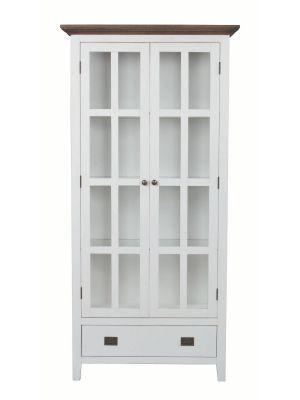 Rowico Nottingham Vitrinekast - B95 x D44 x H195 cm - Glazen Deuren - Wit