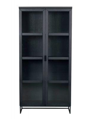 Rowico Everett Vitrinekast - Glazen Deuren - B95 x D41 x H195 cm - Zwart Eikenhout