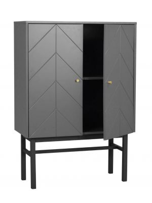 Rowico Webster Opbergkast - B94 x D42 x H135 cm - 2 Deuren - Grijs