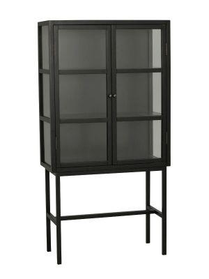 Rowico Marshalle Vitrinekast - B85 x D36 x H160 cm - Zwart - Glazen Deuren