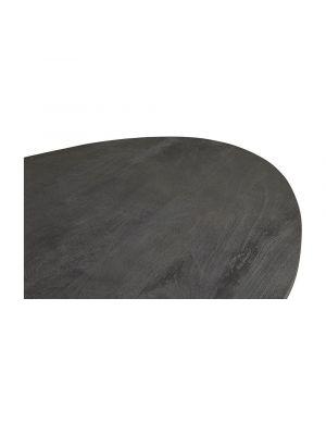 24Designs Nevio Eettafel L180 x B90 x H78 - Tafelblad Zwart Mangohout - Zwart Metaal