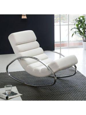 24Designs Amy Schommelstoel - Relax Fauteuil - Kunstleer Wit - Verchroomd Metalen Frame