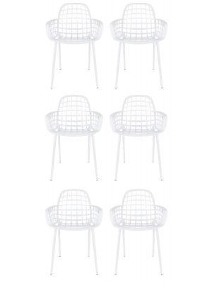 Zuiver Albert Kuip Tuinstoelen Wit - 6 Stoelen Set aanbieding + 6 Gratis Zitkussens
