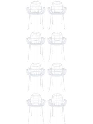 Zuiver Albert Kuip Tuinstoelen Wit - 8 Stoelen Set aanbieding + 8 Gratis Zitkussens