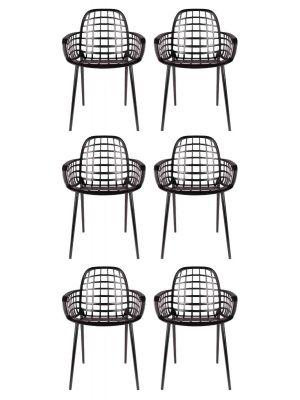 Zuiver Albert Kuip Tuinstoelen Zwart - 6 Stoelen Set aanbieding + 6 Gratis Zitkussens