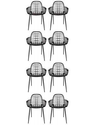 Zuiver Albert Kuip Tuinstoelen Zwart - 8 Stoelen Set aanbieding + 8 Gratis Zitkussens