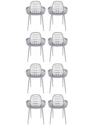 Zuiver Albert Kuip Tuinstoelen Lichtgrijs - 8 Stoelen Set aanbieding + 8 Gratis Zitkussens
