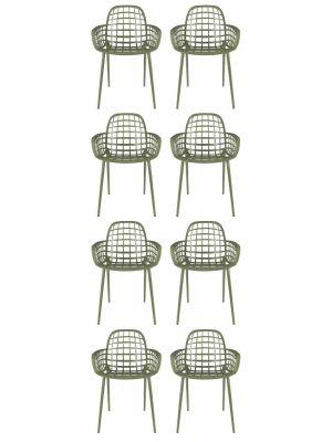 Zuiver Albert Kuip Tuinstoelen Groen - 8 Stoelen Set aanbieding + 8 Gratis Zitkussens