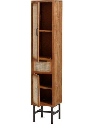 24Designs Noel Webbing Boekenkast 2-Deurs - B55 x D40 x H200 cm - Teakhout