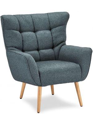 24Designs Puk Loungestoel - Stof Turquoise - Beukenhouten Poten