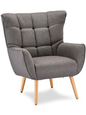24Designs Puk Loungestoel - Stof Grijs - Beukenhouten Poten