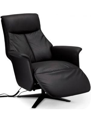 24Designs Saturn Fauteuil - Elektrisch verstelbaar - Leer - Draaibaar - Sta-op-stoel - Zwart