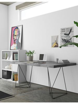 TemaHome Multi Trestles Bureau - L160 x B90 x H77 cm - Beton Look Grijs Tafelblad - Zwart Frame