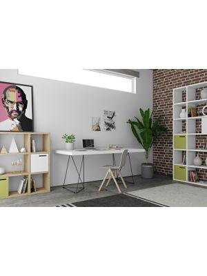 TemaHome Multi Trestles Bureau - L160 x B90 x H77 cm - Mat Wit Tafelblad - Zwart Frame