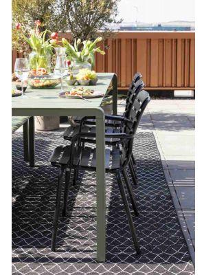 Zuiver Vondel Tuinstoel - Set van 2 - Armleuningen - Gepoedercoat Aluminium - Zwart