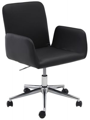 24Designs Sanne Bureaustoel - Zwart Kunstleer - 5-Teens Onderstel Verchroomd Metaal