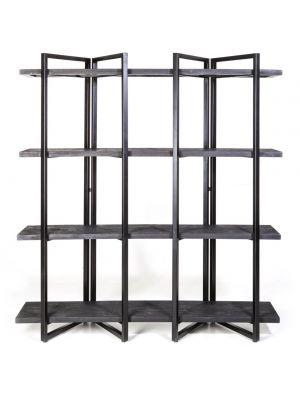 24Designs Edmond Wandkast Hoog 4-Planken - B160 x D44 x H180 cm - Zwart