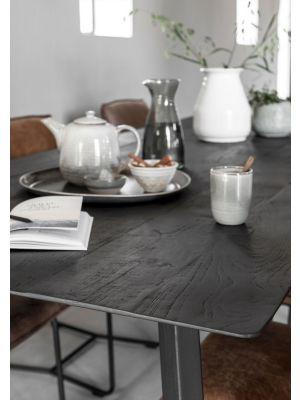 24Designs Timeless Eettafel Shape - L200 x B100 x H78 cm - Zwart Teakhout