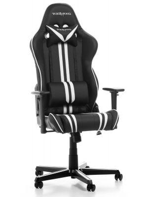 DXRacer Racing Stripes-series Game & Bureaustoel - Zwart/Witte Strepen PU