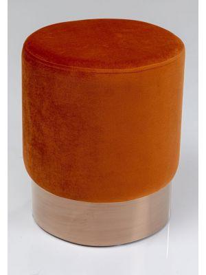 Kare Design Cherry Poef - Ø35x42 - Donker Oranje Fluweel - Koperkleur