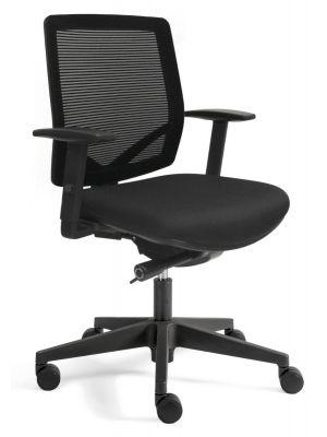 24Designs Aken Economy Bureaustoel EN1335 - Stof/Mesh Zwart - Zwart Onderstel