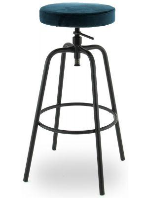 24Designs Ryan Hoge Verstelbare Velvet Barkruk - Petrolblauw Fluweel