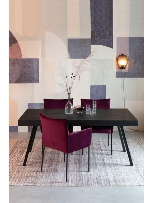 24Designs London Eettafel - L220 x B100 x H76 cm - Zwart Teakhout