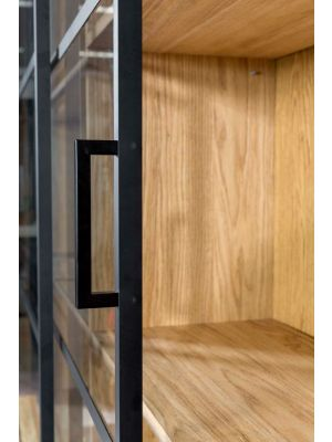 24Designs Duuk Vitrinekast – B210  x D45 x H225 cm - Naturel Eiken - Glazen + Houten Deuren