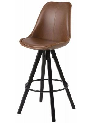 24Designs Barkruk Dex Zithoogte 75 cm - Zitkuip Cognac Bruin Kunstleer - Set van 2