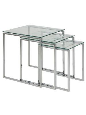 24Designs Set (3) Bijzettafels Serenity - Helder Glas - Chromen Onderstel