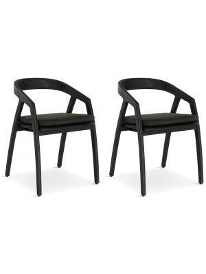 24Designs Arles Tuin & Terrasstoel - Set van 2 - Zwart Teakhout inclusief Zitkussen