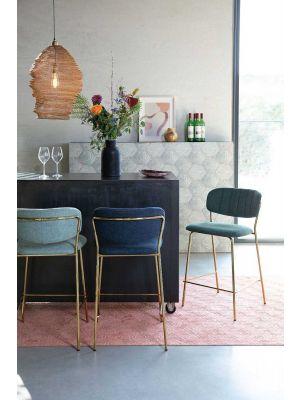 24Designs Arliss Barkruk - Set van 2 - Zithoogte 65 cm - Stof Donkerblauw - Goudkleurig Metaal