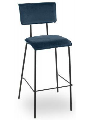 24Designs Elana Barkruk - Zithoogte 80 cm - Fluweel Donkerblauw