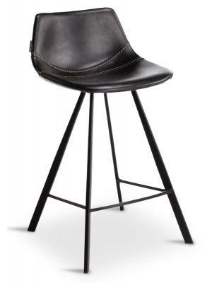 24Designs Harper Barkruk - Set van 2 - Zithoogte 65 cm - Zwart Kunstleer