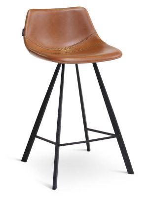 24Designs Harper Barkruk - Set van 2 - Zithoogte 65 cm - Bruin Kunstleer