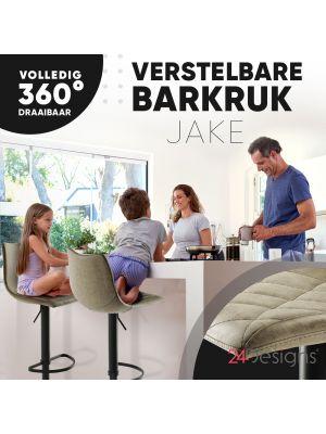 24Designs Verstelbare Barkruk Jake - Bruin Vintage Kunstleer - Zwart Onderstel